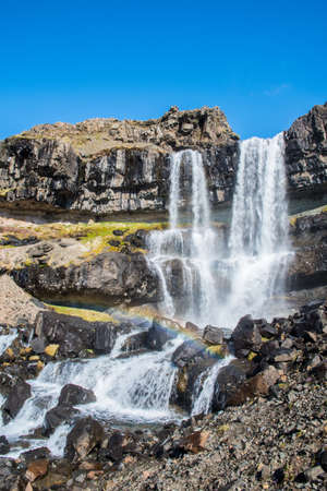 Bergarfoss waterfall in Berga River in Hornafjordur Iceland on a spring day Stock Photo