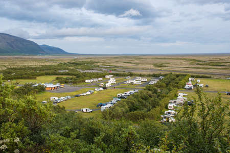 The campsite at skaftafell national park in south Iceland Stock Photo