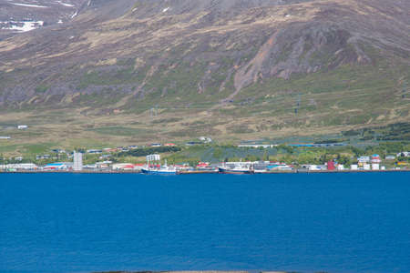 Town of Reydarfjordur in east Iceland on a sunny summer day Stock Photo