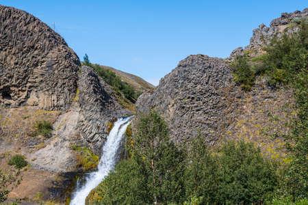 Gjarfoss waterfall in Gjain in south Iceland on a sunny summer day Stock Photo