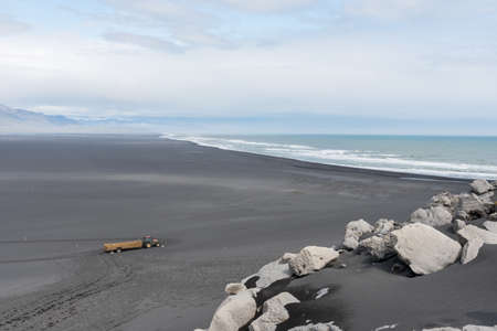 View over the sand beach at Ingolfshofdi in South Iceland