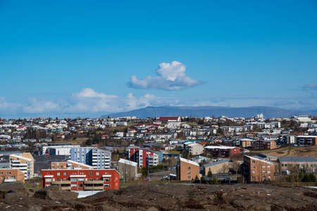 View over Kopavogur which is part of city of Reykjavik in Iceland Stock Photo