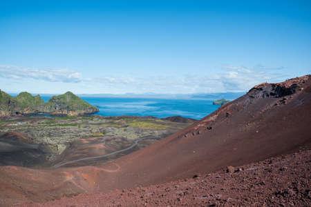 Volcano Eldfell on island of Heimaey in Vestmannaeyjar erupted in 1973