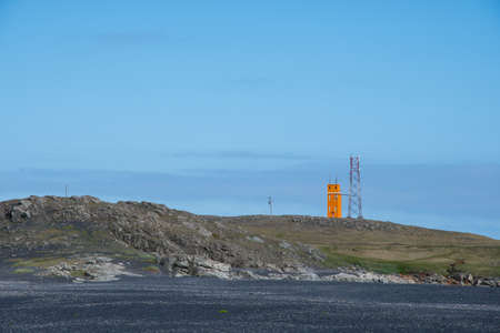 The lighthouse of Hvalnes in east Icelandic rural countryside