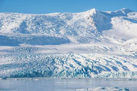 Fjallsarlon Iceberg lagoon with Vatnajokull glacier in south Iceland Stock Photo