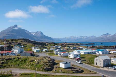 Village of djupivogur in east Iceland on a summer day