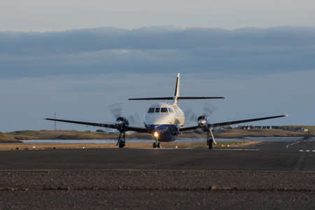 Unidentified airplane landing at Hornafjordur airport in Iceland