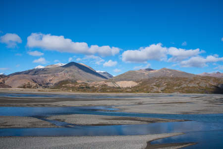 Stafafellsfjoll mountains and River Jokulsa in Lon in east Iceland on a sunny day Stock Photo