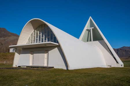 Bjarnaneskirkja church in Nes in Hornafjordur in south Iceland on a sunny day