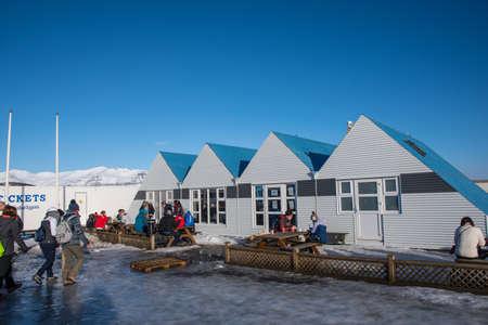 Jokulsarlon Iceland - February 17. 2019: the cafeteria at Jokulsarlon Glacier Lagoon on a sunny winter day Editorial