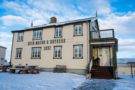 Hornafjordur Iceland - January 25. 2019: old restored building in town of Hofn in Iceland