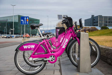 Reykjavik Iceland - October 27. 2018: Wow Air citybike bike rental in Downtown Reykjavik