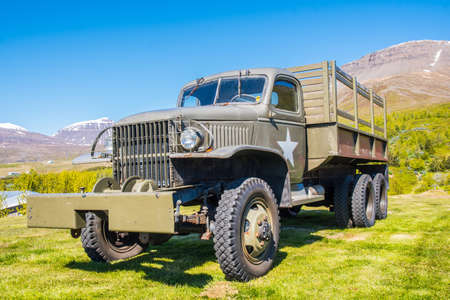 Reydarfjordur Iceland - June 10. 2019: Old military truck at the Icelandic wartime museum