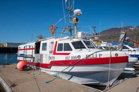 Breiddalsvik Iceland - June 10. 2019: Longlining fishing boat in port of Breiddalsvik