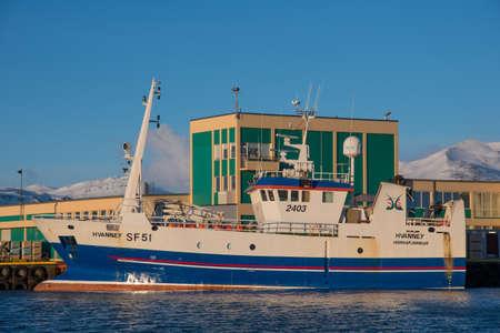 Hornafjordur Iceland - February 17. 2019: trawler fishing vessel Hvanney in port of Hofn in Iceland