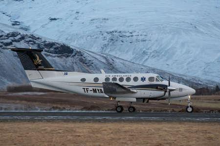 Hornafjordur Iceland - January 13. 2019: Beechcraft Kingair 200 air ambulance taxing at Hornafjordur airport