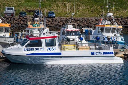 Stodvarfjordur Iceland - June 10. 2019: fishing boat in port Editorial