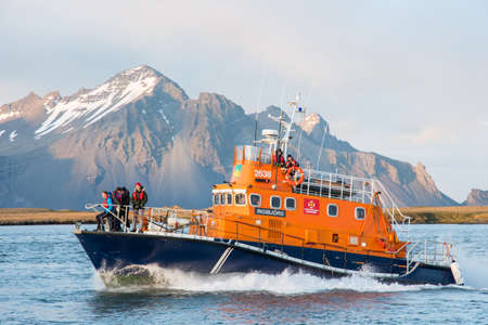 Hornafjordur Iceland - May 9. 2019: Search and rescue vessel Ingibjorg entering port of Hofn in south Iceland