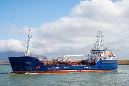 Hornafjordur Iceland - April 27. 2019: Oil tanker Keilir entering port of Hornafjordur in south Iceland Editorial