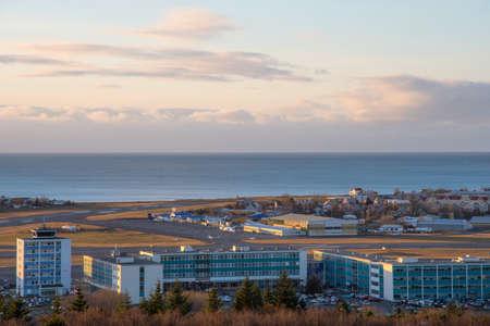 Reykjavik Iceland - October 26. 2018: View over Reykjavik airport and Icelandair Hotel Natura Editorial