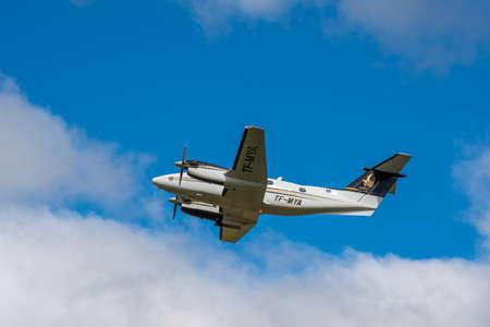 Hornafjordur Iceland - June 14. 2019: Beechcraft Kingair 200 air ambulance taking of