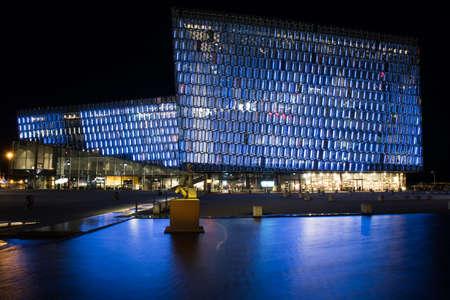 Reykjavik Iceland - October 26. 2018: Concert hal Harpa in the evening with blue light