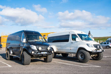 Gullfoss Iceland - August 10. 2019: Modified 4x4 mercedes Benz Sprinter minibuses at the parking lot Editorial