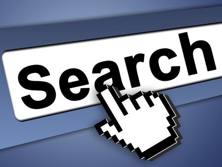 search bar on computer with mouse pointer , on blue background Stock Photo - 5900105