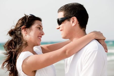 love couple look each other and smile, outdoor Stock Photo - 5900172