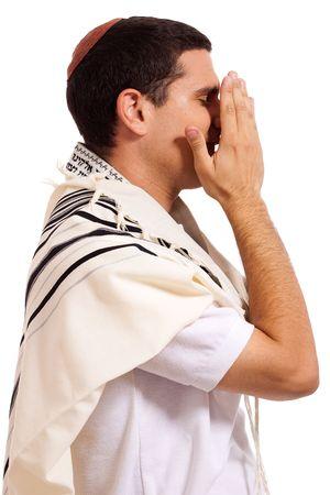 jewish men praying on isolated background photo