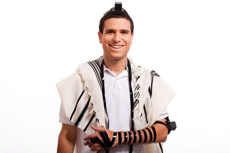 Portrait of happy jewish man smiling on a white isolated background