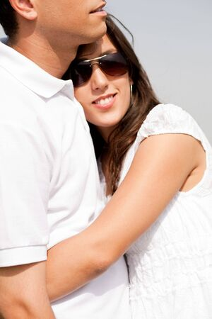 Close up of happy romantic young couple,outdoor photo