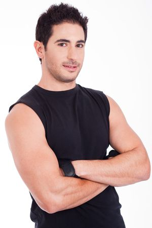 male muscles muscular pecs pectoral sexy young: A Portrait of fit man looking on a white isolated backgroud