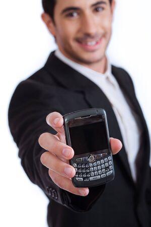 T�l�phone mobile sur focus, studio int�rieur  Banque d'images