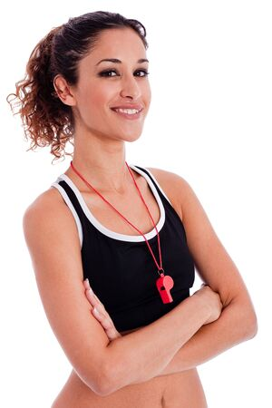 Close up portrait of a beautiful fitness woman with his hands folded on isolated white background photo