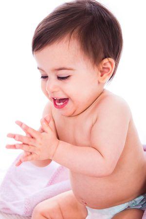 manos aplaudiendo: Goza de beb� por Palmas de manos en un fondo blanco