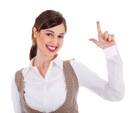 front raise: Beautiful young model raising her hand up and showing two fingers on a white isolated background