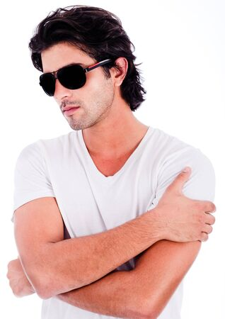 causal: causal portrait of young man with black sunglasses on isolated white background