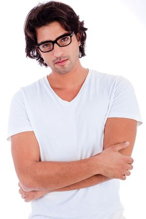 causal: causal portrait of young man on isolated white background