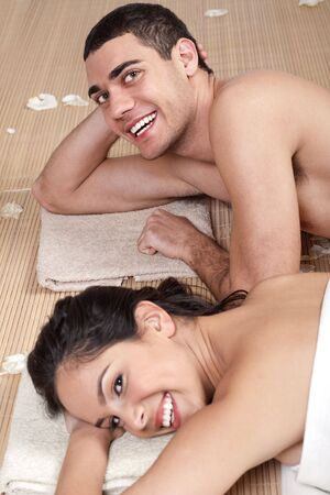 Good looking couple in love during spa outside photo