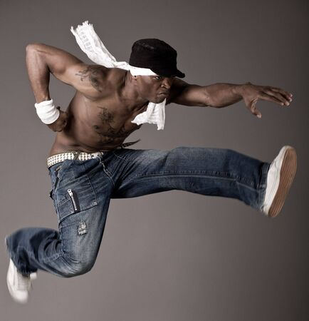 freestyle: Afro-american make jumping dance