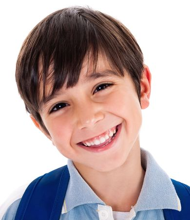 Closeup smile of a cute young boy on white background