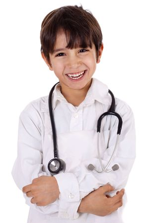 Little young boy doctor over isolated white background Stockfoto