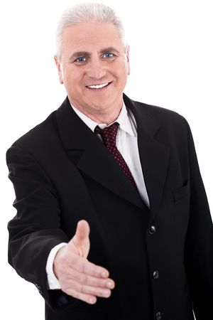 Senior business man making deal with you over white background photo