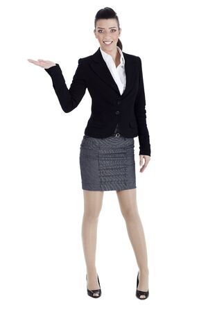 copysapce: Full length of young woman pointing copysapce over white background