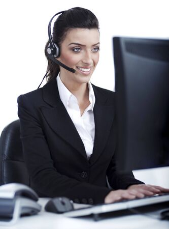customercare: Woman wearing headset in computer room at her cabin over white background
