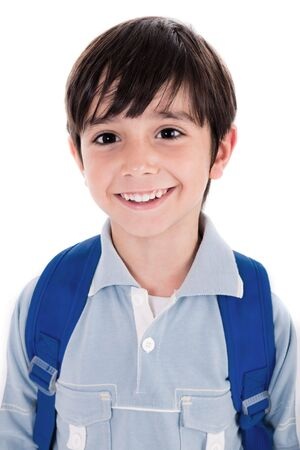 Closeup smile of a cute young boy on white background photo