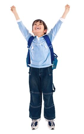 school boy raising his hands up wearing school bag on isolated background