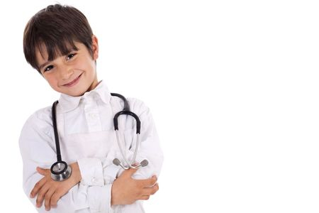 eye doctor: Little young boy doctor over isolated white background Stock Photo