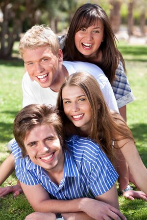 group of Young romantic couples enjoying their summer in the park Stock Photo - 6956295